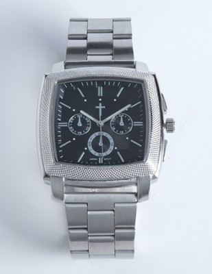 Chronographic Style Watch with Cross on Square Face, Silver, Boxed  -