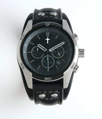 Chronographic Style Watch with Cross on Round Face, Black and Silver, Boxed  -