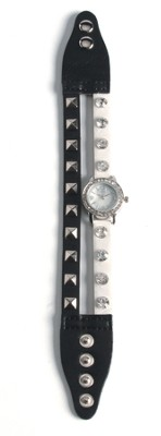 Double Band Watch with Cross, White and Black with Rhinestones  -