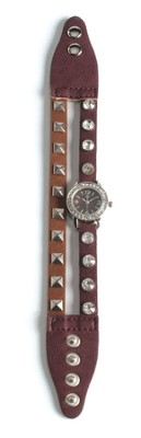 Double Band Watch with Cross, Brown and Tan with Rhinestones  -