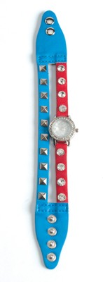 Double Band Watch with Cross, Turquoise and Red with Rhinestones  -