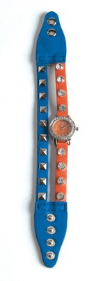 Double Band Watch with Cross, Blue and Orange with Rhinestones  -