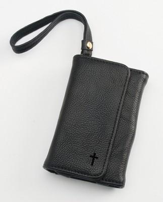 Trifold ID, IPhone, Wallet Wristlet with Cross, Black  -