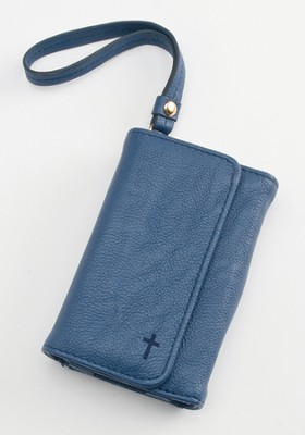 Trifold ID, IPhone, Wallet Wristlet with Cross, Blue  -
