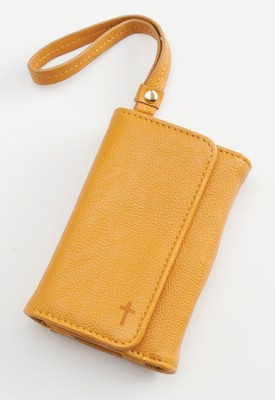 Trifold ID, IPhone, Wallet Wristlet with Cross, Tan  -