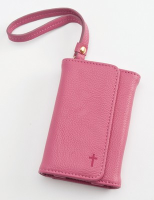 Trifold ID, IPhone, Wallet Wristlet with Cross, Pink  -