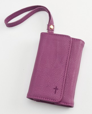 Trifold ID, IPhone, Wallet Wristlet with Cross, Purple  -
