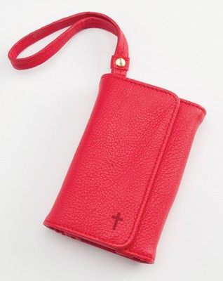 Trifold ID, IPhone, Wallet Wristlet with Cross, Red  -