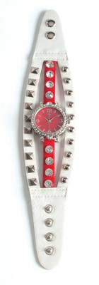Triple Band Watch with Cross, White and Red with Rhinestones  -