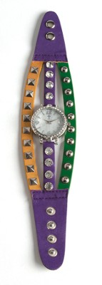 Triple Band Watch with Cross, Purple, Yellow and Green with Rhinestones  -