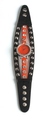 Triple Band Watch with Cross, Black and Orange with Rhinestones   -