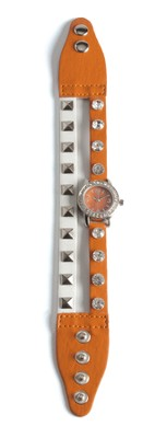 Double Band Watch with Cross, Orange and White with Rhinestones  -