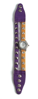 Double Band Watch with Cross, Purple and Gold with Rhinestones  -