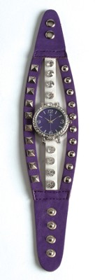 Triple Band Watch with Cross, Purple and White with Rhinestones  -