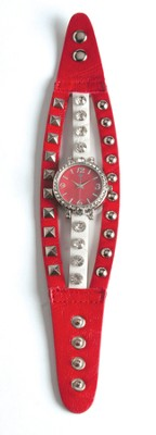 Triple Band Watch with Cross, Red and White with Rhinestones  -