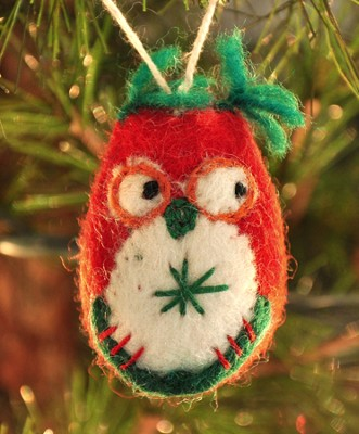 Owl Ornament, Red, Fair Trade Product  -
