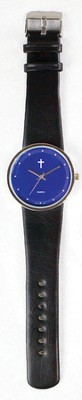 Jumbo Dial Watch, Blue Face, Black Strap  -