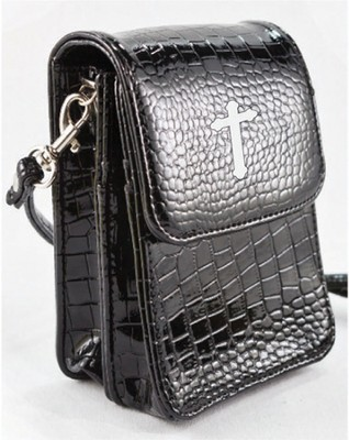 Crossbody Wristlet, Faux Patent Leather Croc-Look, Black  -