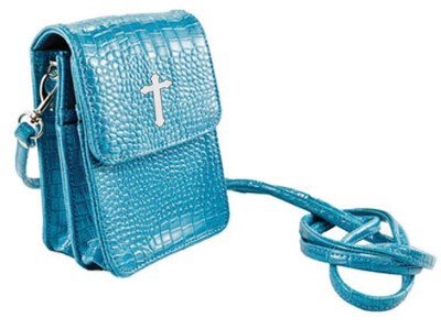 Crossbody Wristlet, Faux Patent Leather Croc-Look, Aqua  -