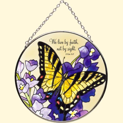 We Live By Faith Circle Suncatcher   -