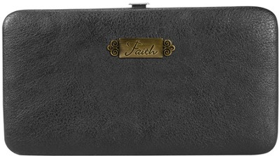 Faith, Faux Leather Clutch Wallet, Black  -