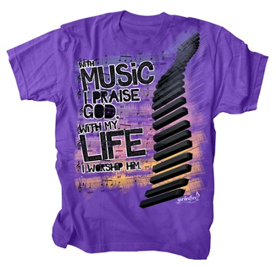 With My Life Worship Him, Shirt, Purple, XX Large  -
