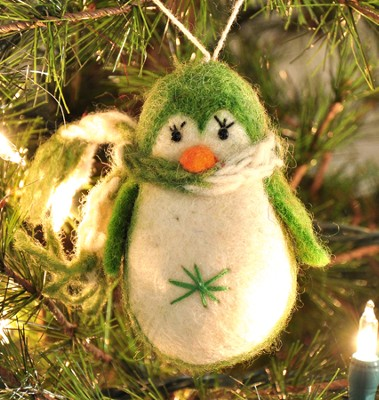 Penguin Ornament, Green, Fair Trade Product  -