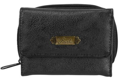 Faith Coin Purse, Faux Leather, Black  -