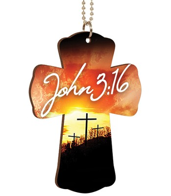 John 3:16, Cross Car Charm  -