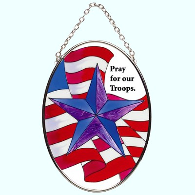 Pray For Our Troops Oval Suncatcher   -