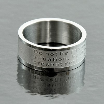 Do Not Be Anxious, Philippians 4:6 Band Ring, Size 7  -