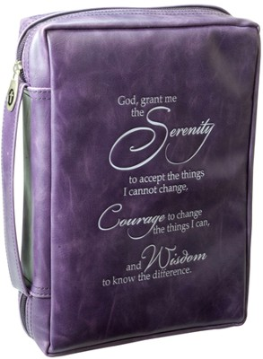 Serenity Prayer Bible Cover, Purple, Medium  -