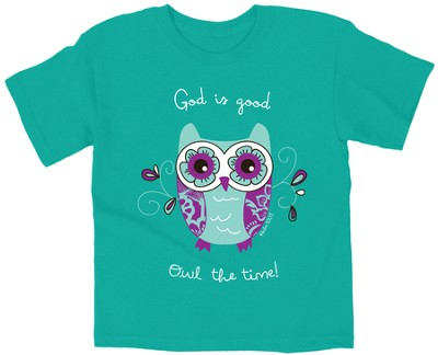 God Is Good, Owl the Time Shirt, Teal, Youth Large   -