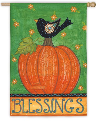 Blessings Garden Flag, Bird on Pumpkin         -     By: Annie LaPoint
