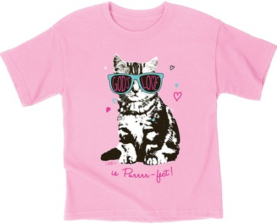 God's Love Is Purrrrfect Shirt, Pink, Youth Medium  -