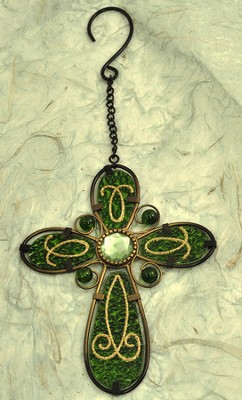 Glass Hanging Cross, Green  -