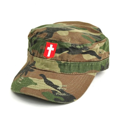 Flat Top Camo Cap with Cross  -