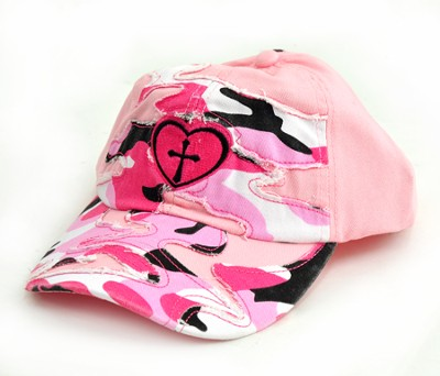 Camo Cap with Cross, Pink  -