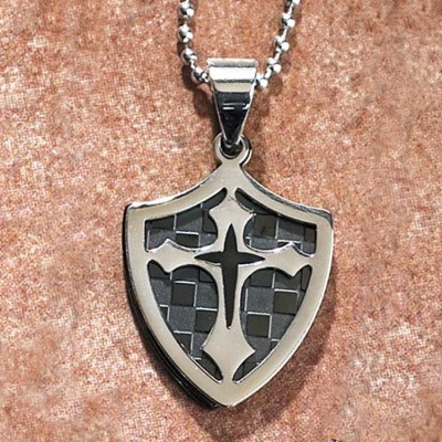 Double Cross Shield Pendant  -