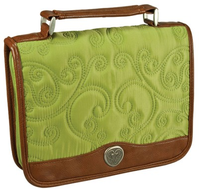 Quilted Bible Cover, Green, Large  -