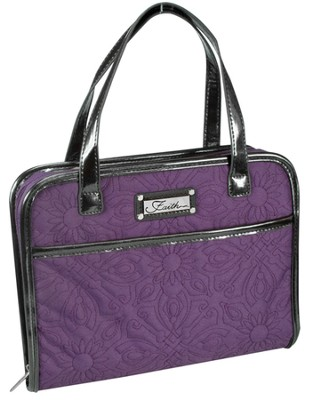 Quilted, Purse Style Bible Cover, Purple, Large  -