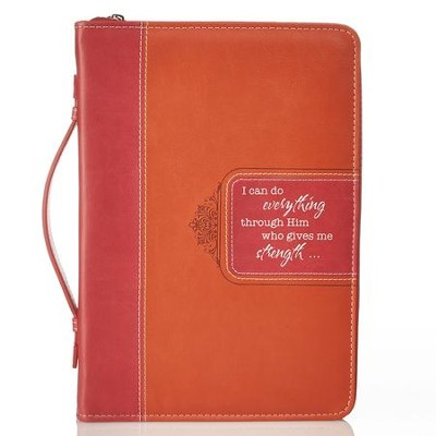 I Can Do All Things Bible Cover, Pink, Orange, Large  -
