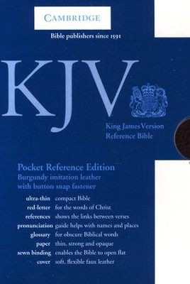 KJV Pocket Reference Bible with flap, Imitation leather, burgundy  -