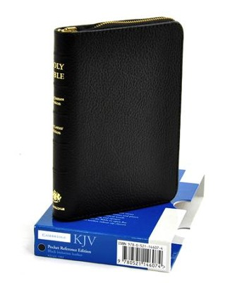 KJV Pocket Reference Bible with zipper, French Morocco leather, black  -