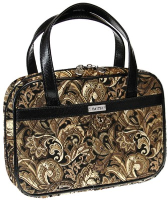 Paisley Purse Style Bible Cover, Brown, Medium  -