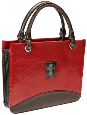 Croc Embossed Cross Bible Cover, Red, Medium  -