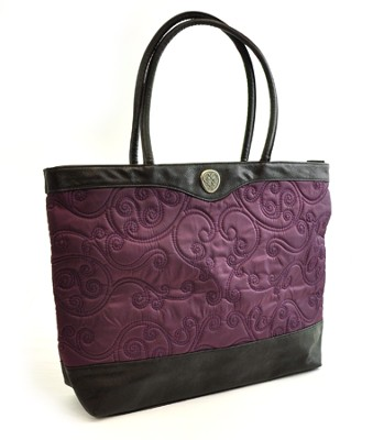 Quilted Tote Bag, Purple  -
