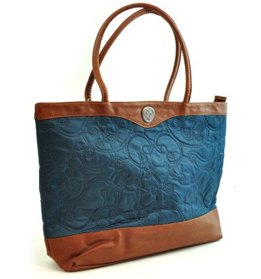 Quilted Tote Bag, Teal  -