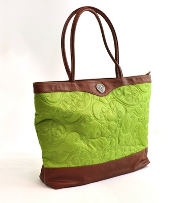 Quilted Tote Bag, Green  -