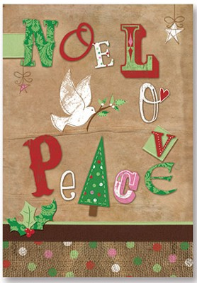 Noel Love Peace Christmas Cards, Pack of 20   -